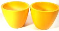 CROCKTO Ceramic Yellow Handmade Bonsai Succulent Planter Pots/Indoor Planter Fancy Decorative Plant Container Set(Pack of 2, Ceramic)