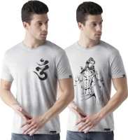 Young Trendz Graphic Print Men Round or Crew Grey, Black T-Shirt(Pack of 2)