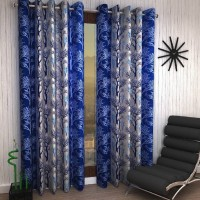 Zesture 214 cm (7 ft) Polyester Door Curtain (Pack Of 2)(Printed, Blue)
