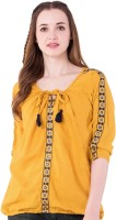 AANIA Casual 3/4th Sleeve Embroidered Women Yellow Top