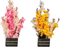 kaykon Beautiful Combo of 2 White, Yellow, White, Pink Orchids Artificial Flower  with Pot(16 inch, Pack of 2)