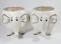 CROCKTO Ceramic White Elephant Handmade Bonsai Succulent Planter Pots/Indoor Planter Fancy Decorative Plant Container Set(Ceramic)