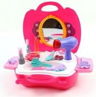 Emob 21 Pcs Salon Make up Kit Pretend Play Set with Handy Suitcase for Kids