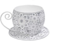 Scrafts New Cup Saucer Small Flower Container Iron Vase(6 inch, White)