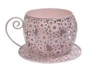 Scrafts Cup Saucer Small Flower Pot Iron Vase(6 inch, Pink)