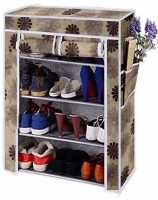 CMerchants Cabinet-4Layer Metal Collapsible Shoe Stand(Copper, 4 Shelves)