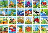 Wishkey Wooden Puzzle Games For Kids Set Of 24 Bird, Insect, Vehicle, Marine,Fruit & Vegetable Character Wooden Jigsaw Puzzle(16 Pieces)