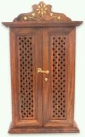 MartCrown Wall Hanging Dobule Door Key Box Wood Key Holder(6 Hooks, Brown)