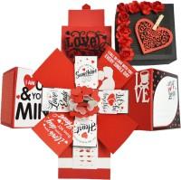 DecuT 3 Layered Romantic Handmade Explosion Box For Love Explosion Box For Birthday Explosion Box DIY Kit(Multicolor)