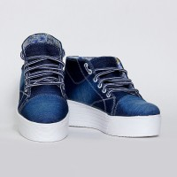 dalliance DENIM HIGH HEEL CASUAL SHOES Casuals For Women(Blue)