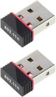 PIQANCY Mini Dongle Two Piece 2.4Ghz Wireless Wifi 300Mbps 802.11N Dongle 2.0 Network NANO Wifi Dongles USB Adapter USB Adapter(Black)