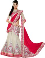 The Color Tex Embroidered Lehenga Saree Georgette, Net, Chiffon, Jacquard Saree(Red)