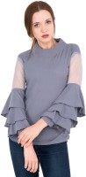 BuyNewTrend Casual Bell Sleeve Solid Women's Grey Top
