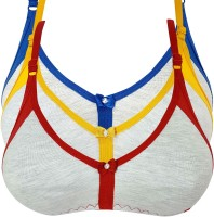 X-WELL Women Full Coverage Non Padded Bra(Red, Blue, Yellow)