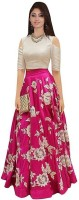 Active Embroidered Lehenga Choli(Pink, Beige)