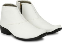 Shoe Island ® POPULAR Chelsea-X ™ White Leatherette Zipper High Ankle Length Casual Chelsea Boots Boots For Men(White)