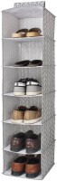 HomeStorie Canvas Cloth Hanging Storage Wardrobe Organizer, 6 Shelves, Grey Closet Organizer( )