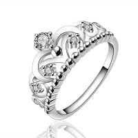 Yellow Chimes Royal Crown Austrian Crystal 925 Silver Plated Metal Rhodium Plated Ring