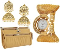 Apro Mothers Day Golden Combo Gift for Women Best And High Quality Gift Combo For Your Precious Mom Watch, Jewellery, Wallet Gift Set