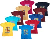Manzon Boys & Girls Graphic Print Cotton Blend T Shirt(Multicolor, Pack of 10)