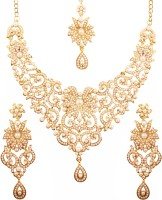 Touchstone Touchstone Indian Bollywood Traditional Royal Look Fine Filigree Carving Faux Pearls Grand Bridal Designer Jewelry Necklace Set In Antique Gold Tone For Women Cubic Zirconia Gold-plated Plated Alloy Necklace Set