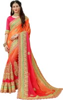 Manohari Embroidered Fashion Pure Chiffon Saree(Orange, Pink)