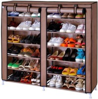 Apex Collapsible Shoe cabinet 12 Shelves Cotton Collapsible Shoe Stand(Brown, 12 Shelves)