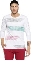Campus Sutra Self Design Men Round Neck White T-Shirt