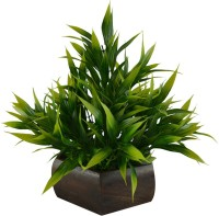 Fancymart Bamboo Leave Plant Green Wild Flower Artificial Flower  with Pot(8 inch, Pack of 1)