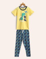Miss & Chief Kids Nightwear Boy's Printed Cotton(Yellow Pack of 1)