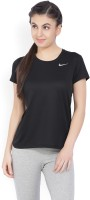 Nike Solid Women's Round Neck Black T-Shirt