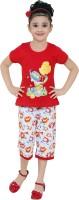 JUST TRENDY Kids Nightwear Girls Printed, Floral Print Cotton(Multicolor Pack of 1)