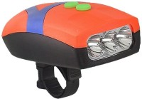 FASTPED Ultra Bright 3 LED Bike Cycling Front Head Light Lamp With Electronic Bell Horn Bicycle Flashlights Bell(Orange)