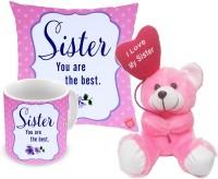 ME&YOU Return Gifts for Sister, Rakhi Gifts for Sister, Rakshabandhan Gifts, Birthday Gifts, Anniversary Gifts for Sister IZ18NJPCMT-1993 Cushion, Mug, Soft Toy Gift Set