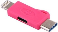OLECTRA 3 IN 1 Micro USB to Lightning 8 Pin and Type C Convertor CHARGING ADAPTER (Pink) USB Adapter(Pink)