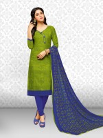 Divastri Cotton Blend Embroidered, Printed Salwar Suit Material(Semi Stitched)