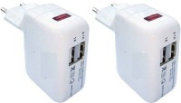 OLECTRA Set of 2 USB 2 PORT BATTERY CHARGER HUB 5v / 2.1 AmP LED Charging Display For ALL USB DEVICES (White) USB Adapter(White)