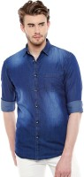 Dennis Lingo Men Solid Casual Dark Blue Shirt