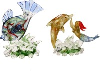 AFAST Attractive Playing Mother Dolphin With Baby Dolphin -IS Decorative Showpiece - 13 cm ( Set of 2, Glass, Clear, Blue) Decorative Showpiece  -  8 cm(Glass, Multicolor)