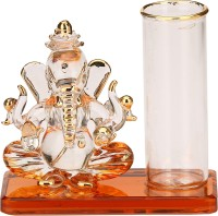AFAST Attractive Dual Face Intellectual Ganesha With Pen Stand Gift-able Table Top Showpiece, Orange -S036 Decorative Showpiece  -  8 cm(Glass, Red, Gold, White)