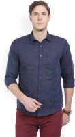 CAVALLO by Linen Club Men's Solid Casual Dark Blue Shirt