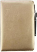 Emartbuy Wallet Case Cover for Videocon VA72(Metallic Gold Plain, Cases with Holder, Artificial Leather)