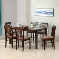 @home by Nilkamal Alice Solid Wood 6 Seater Dining Set(Finish Color - Cherry)
