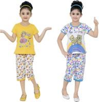JUST TRENDY Kids Nightwear Girls Printed Cotton(Multicolor Pack of 2)