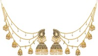 Luxor Bahubali Jhumkha with Long Chain Pearls Pearl Alloy Jhumki Earring