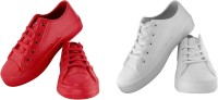 Zapatoz Combo Pack of 2 Red White Casual Tennis Shoes for Men & Boy's Casuals For Men(Red, White)