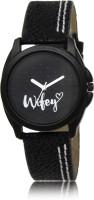 LOREM LR234 Black-Round Designer Wifey Leather Watch  - For Women