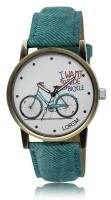 LOREM LR229 White-Green Round Bicycle Designer Leather Watch  - For Women