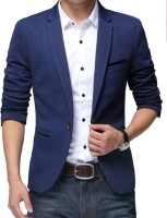 One Click Solid Single Breasted Party, Formal Men Blazer(Blue)