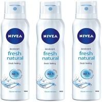 Nivea FRESH NATURAL Deodorant Spray - For Women(450 ml, Pack of 3)